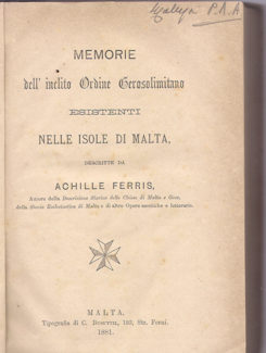 memorie dell inclito gerosolimitano esistenti nelle isole di Malta