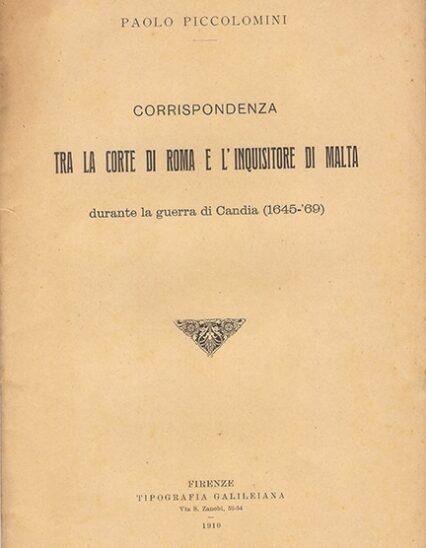 correspondenza tra la corte di Roma e l'Inquisitore di Malta